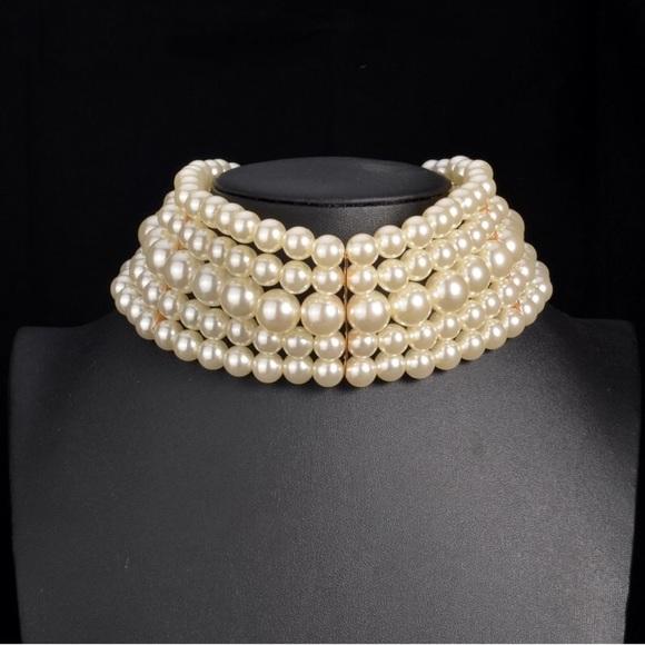 26c972b6baae4 Pearls choker necklace set